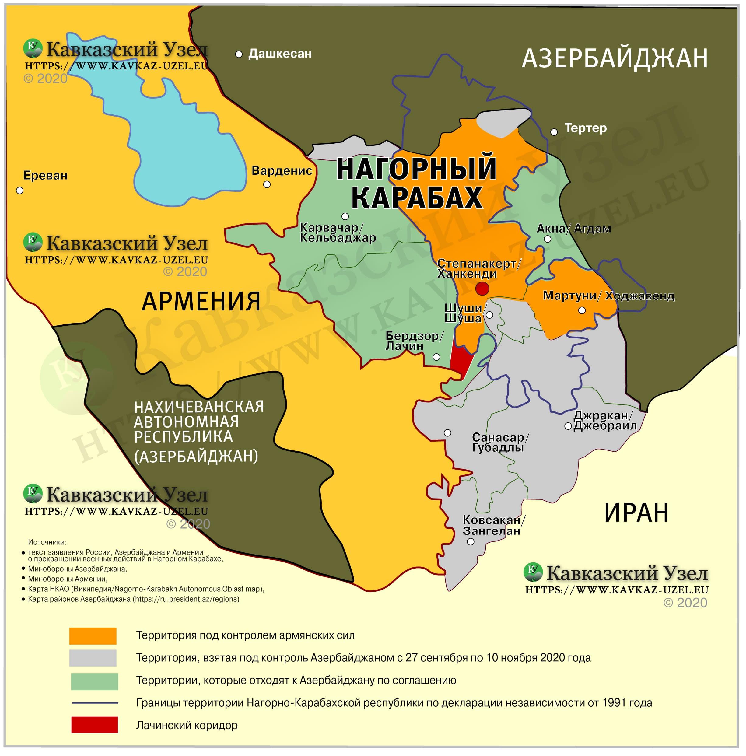 Кавказский Узел | Карта Карабаха: что получит после войны Азербайджан